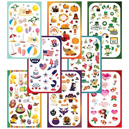 Koobar Year-Round Holiday Stickers Variety Pack: Fun Assortment of Designs for a Whole Year (400+ stickers) - image 2 de 4