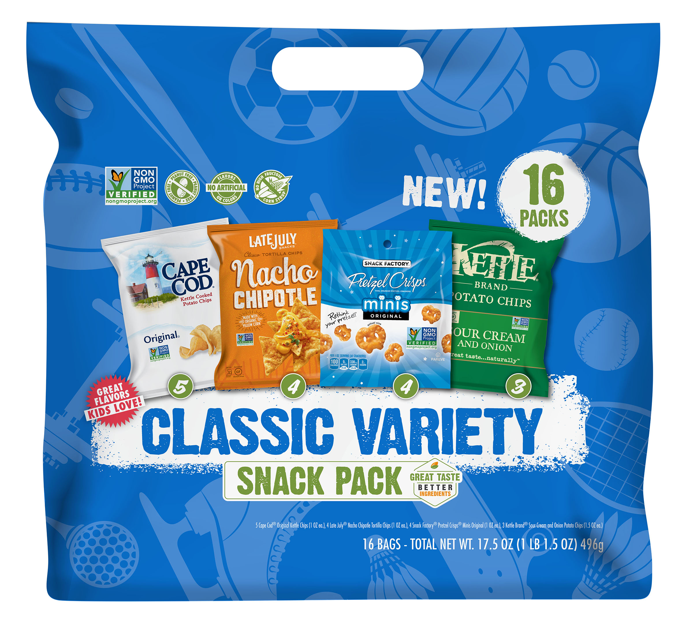 Classic Snack Variety Pack with Pretzel Crisps, Cape Cod, Kettle Brand Potato Chips & Late July Tortilla Chips, 16 Ct