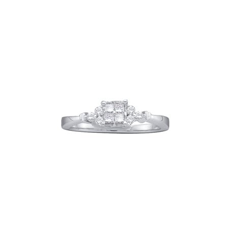 Size - 7 - Solid 14k White Gold Princess Cut Round White Diamond Engagement Ring OR Fashion Band Invisible Set Square Shape Solitaire Shaped Ring (1/4 cttw)