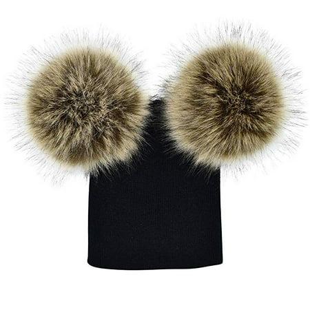 Baby Kids Boy Girl Knitted Hat Cap With Two Pom Pom Balls Winter Warm Hat Beanie (Winter Ball Cap)