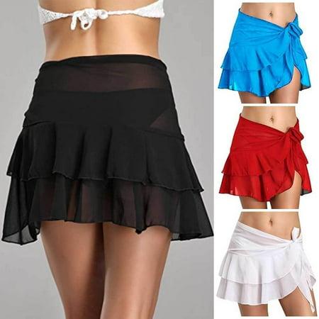 Sexy Beach Cover Up Skirt Women Chiffon Beachwear Short Bathing Swim dress (Skirted Swim Suit)