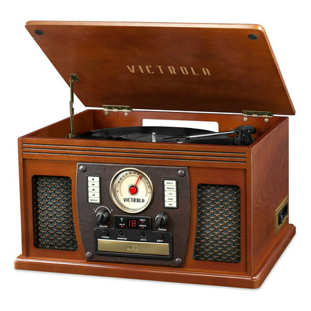 Victrola's 7-in-1 Bluetooth Recordable Record Player with 3-Speed Turntable, CD, Cassette Player and FM