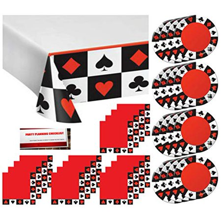 Casino Poker Night Birthday Party Supply Pack Bundle Serves 16 - Plates, Napkins, Table Cover (Plus Party Planning Checklist by Mikes Super - Birthday Supplies Store