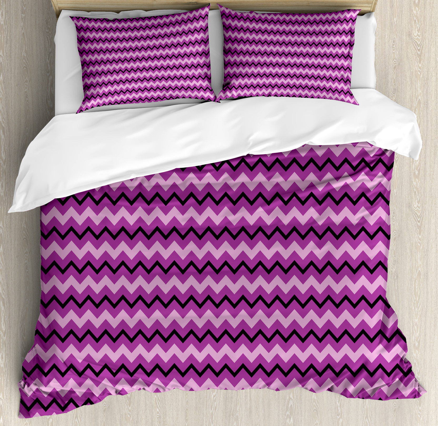 Teen Room Decor Queen Size Duvet Cover Set, Zigzag Backgr...