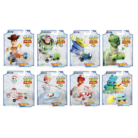 2019 Hot Wheels 1/64 Disney Pixar Toy Story 4 Complete Set of 8 Collectible Character Cars - Woody, Buzz Lightyear, Alien, Rex, Forky, Bo Peep, Duke Caboom, Ducky &