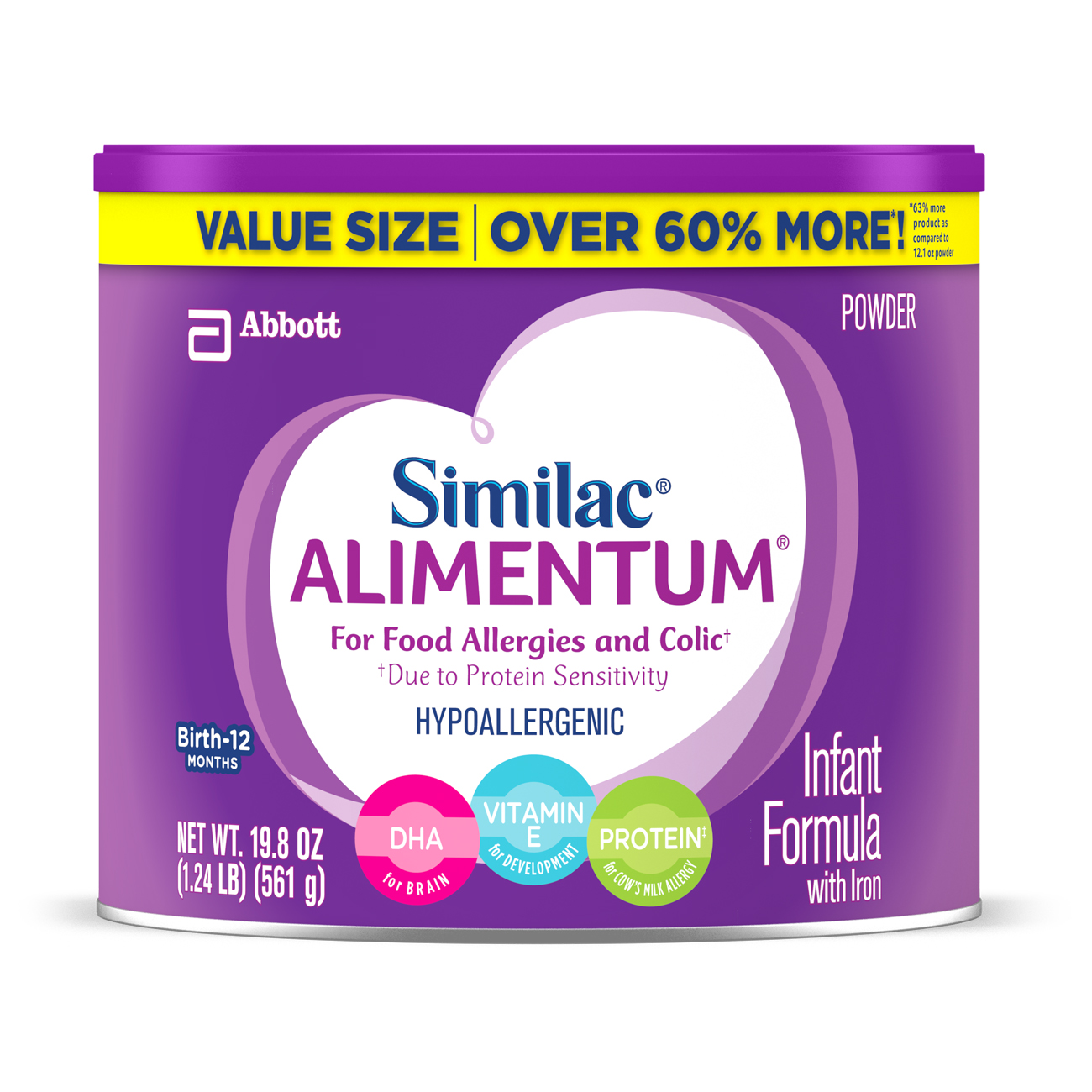 Similac Alimentum Hypoallergenic Baby Formula for Food Allergies and Colic, Value Size, Powder, 19.8 oz (Pack... by Similac