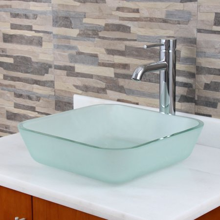 - Elite Frosted Square Tempered Glass Bathroom Vessel Sink with Faucet