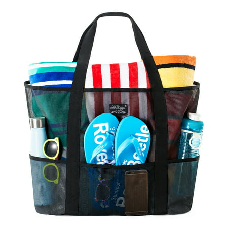 SoHo Collection, Mesh Beach Bag – Toy Tote Bag – Large Lightweight Market, Grocery & Picnic Tote with Oversized Pockets (Black and Black) Deluxe Beach Tote Bag