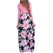 3/4 Sleeve Women Floral Patchwork Casual Long Maxi Dress