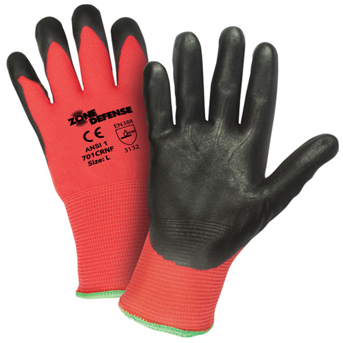 West Chester 701CRNF/XL X-Large Zone Defense Cut And Abrasion Resistant Black Foam Nitrile Dipped Palm Coated Work Gloves With Elastic Knit Wrist (1/PR)