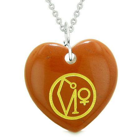 Red Jasper Heart Necklace - Archangel Uriel Sigil Magic Amulet Planet Energy Puffy Heart Red Jasper Pendant 18 inch Necklace