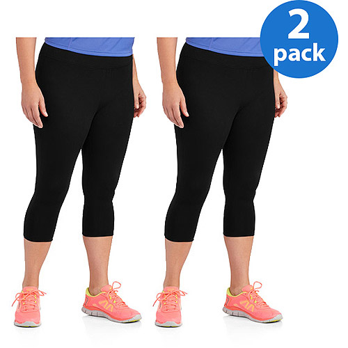 Danskin Now Women;s Plus-Size Dri-More Capri Core Leggings 2pk Value Bundle