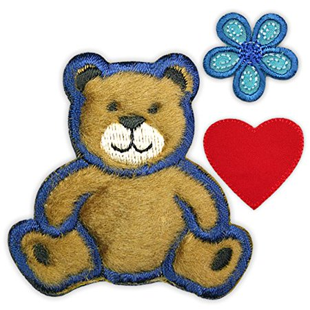 Altotux Small Brown Fuzzy Teddy Bear Red Heart Blue Flower Kaylee Firefly Costume Embroidered Sew on Patches Applique DIY Cosplay Craft