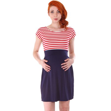 56f7ae345bb39 Simplicity - Women's Maternity Summer Baby Shower Dress Short Sleeves, Red/ White - Walmart.com