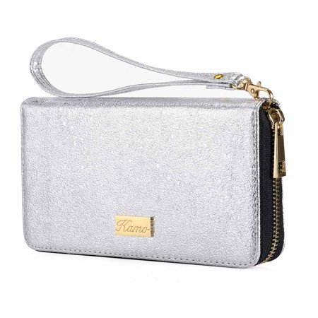 Wallet for Women Zip Around Phone Wallet Clutch Wristlet Travel Long Purse for Women Lady Girl 7.6×3.9(Single Zipper)