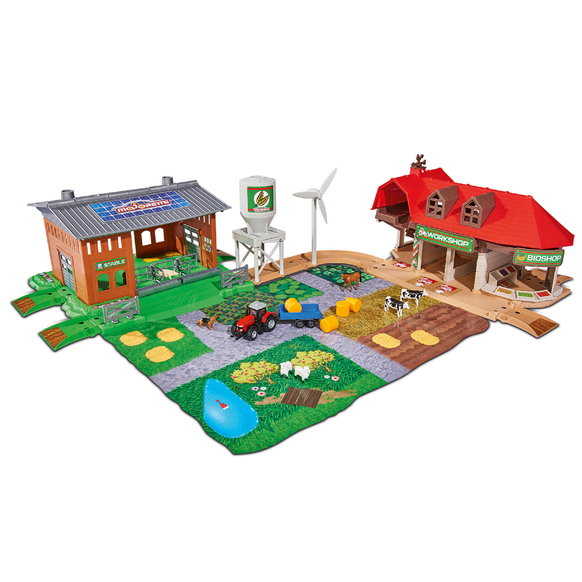 Majorette Creatix Farm 60 Piece Playset with 1 Tractor and Trailer by Dickie Toys