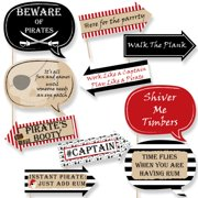 Funny Beware of Pirates Pirate Birthday Party Photo Booth Props Kit 10 Piece by Big Dot of Happiness, LLC