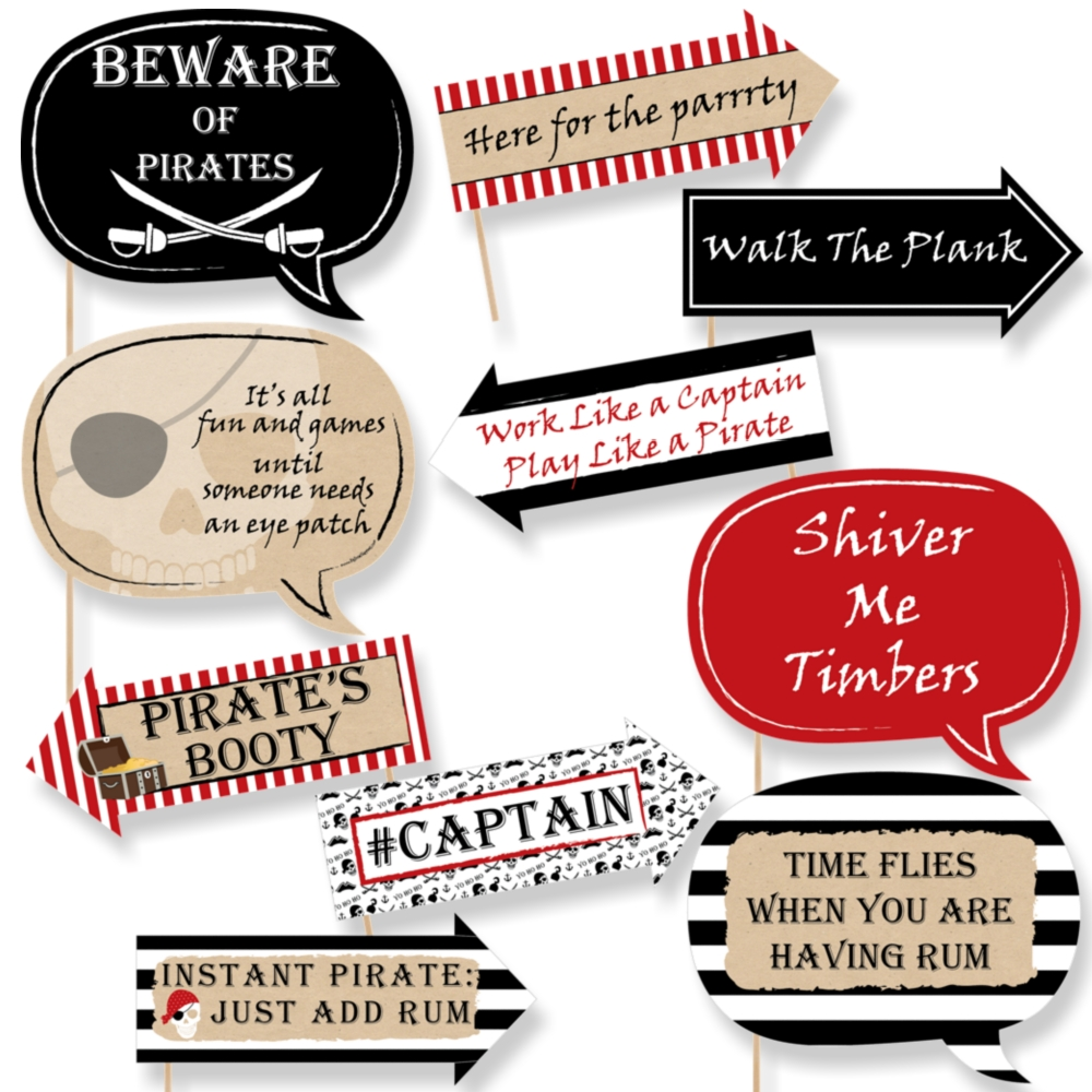 Funny Beware of Pirates - Pirate Birthday Party Photo Booth Props Kit - 10 Piece