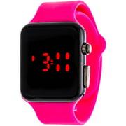 Women's LED Digital Watch, Pink Rubber Strap