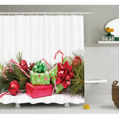 Christmas Shower Curtain Ornate Boxes With Dots Candy Cane Festive Wrapped Seasonal Elements Surprise