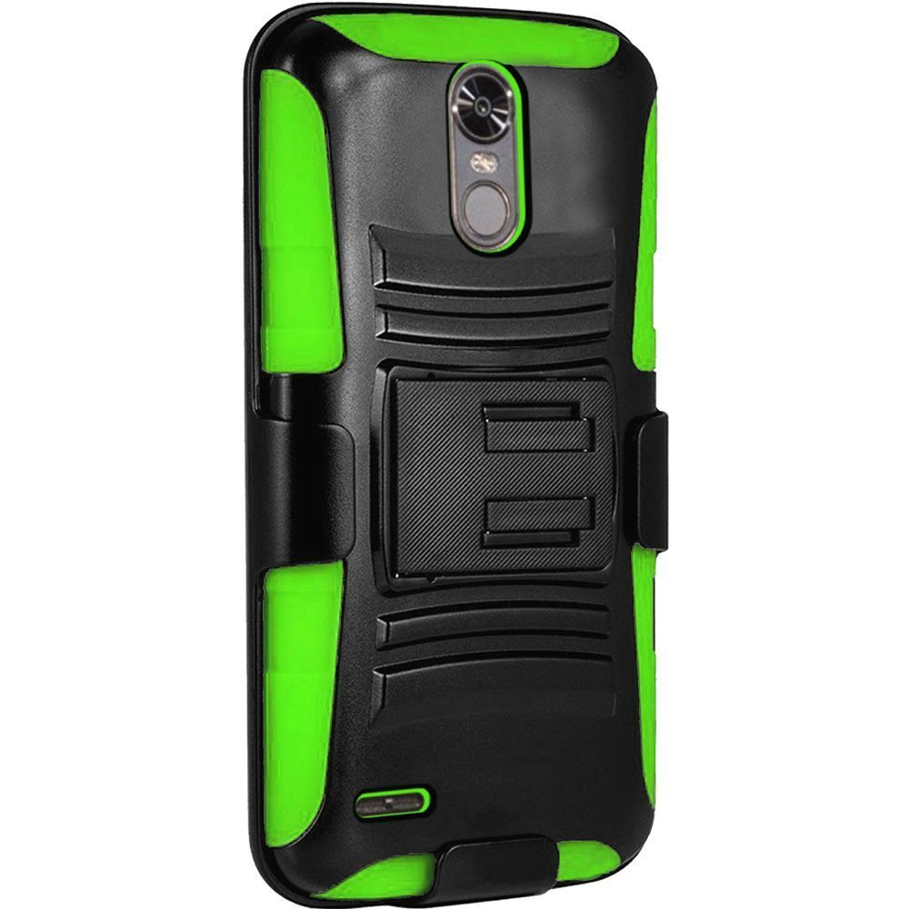 LG Stylo 3 case, LG Stylo 3 Plus case, by Insten Hybrid Side Kickstand Dual Layer Case with Holster Clip For LG Stylo 3 / Stylo 3 Plus - Black/Dark Purple - image 2 de 3