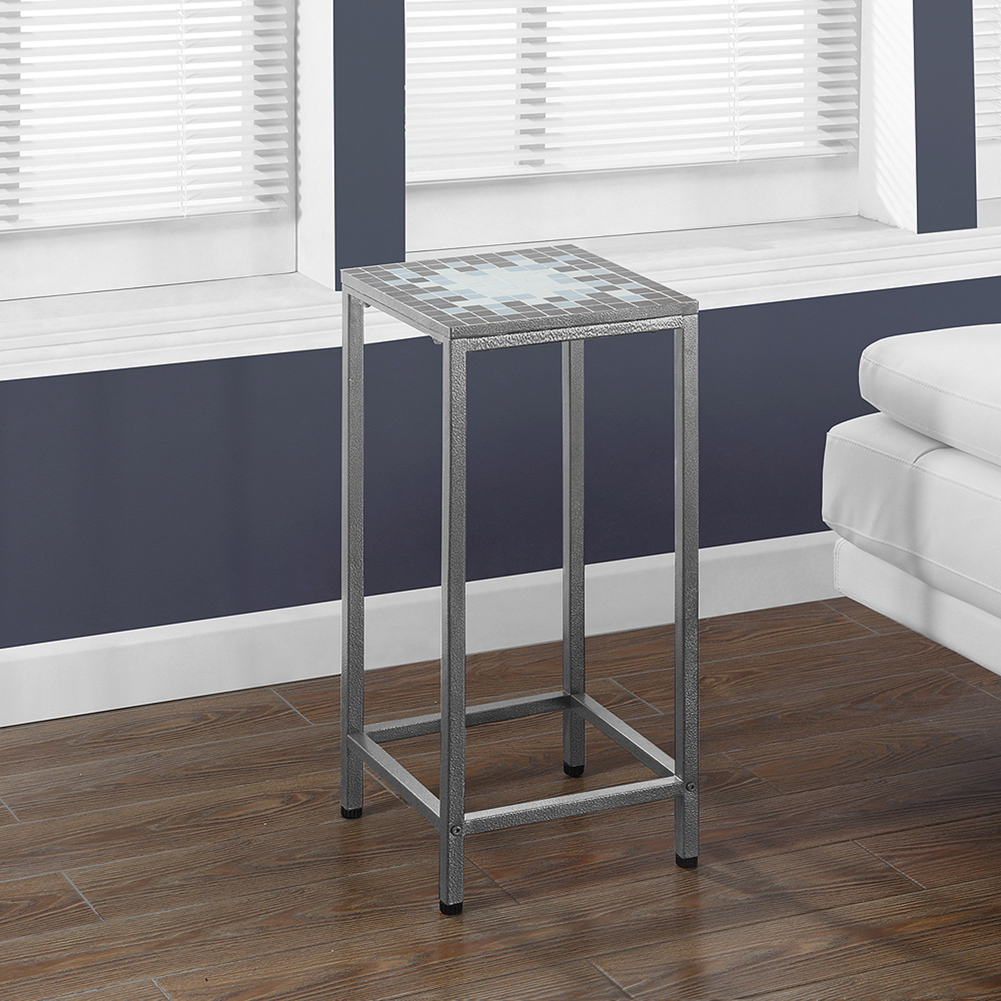 "Tile Top 28""H Plant Stand, Grey Blue Hammered Silver by Monarch Specialties Inc"