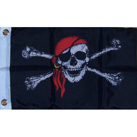 12X18 In Red Pirate Boat Decorative, Dimensions : 12x18 By Flag,USA](Pirate Flag For Sale)