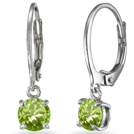 Peridot Sterling Silver 6mm Round Dangle Leverback - 90s Jewelry