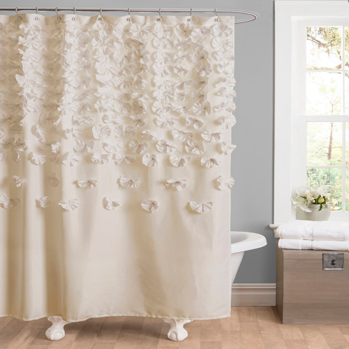 Essential Living Lucia Shower Curtain, Ivory