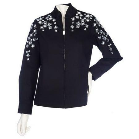 Bob Mackie Jeweled Embellished Denim Jacket A201757 100% Cotton Denim Jacket