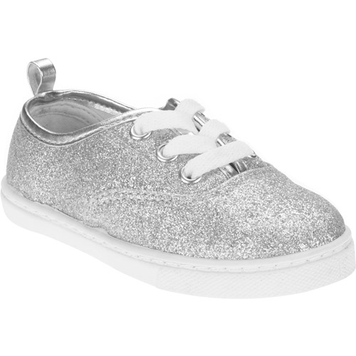 Faded Glory Toddler Girl's Glitter Canvas Lace-up Sneakers