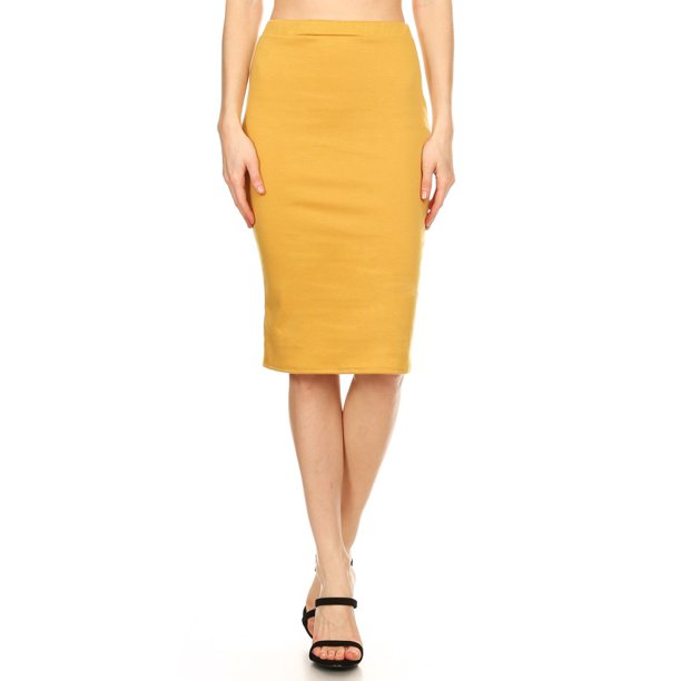 Women's Solid Knit Pencil Skirt