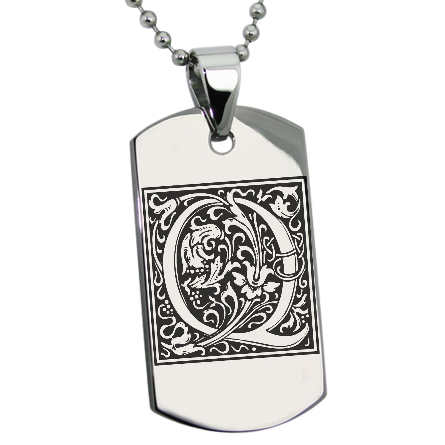 Stainless Steel Letter Q Initial Floral Monogram Engraved Dog Tag Pendant