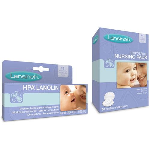 Lansinoh - Lanolin Cream and 60-Count Disposable Nursing Pads Bundle