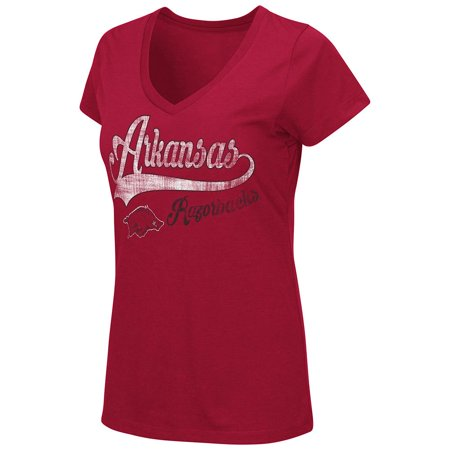 Womens Ncaa Arkansas Razorbacks V Neck Short Sleeve Tee Shirt  Team Color