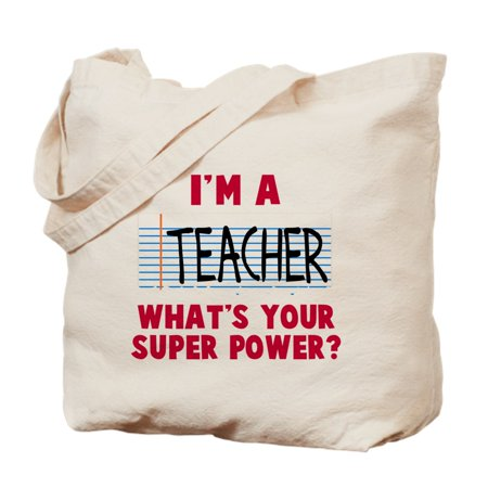 I'm A Teacher Super Power - Natural Canvas Tote Bag, Cloth Shopping Bag