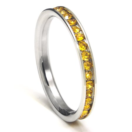 316L Stainless Steel Citrine Yellow Cubic Zirconia CZ Eternity Wedding 3MM Band Ring Sz 7