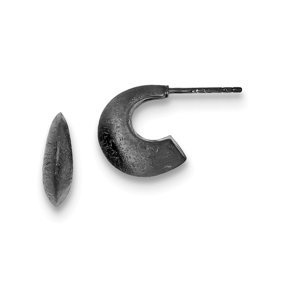 Sterling Silver Black Rhodium Satin Finish Post Hoop Earrings (0.5IN x 0.8IN )