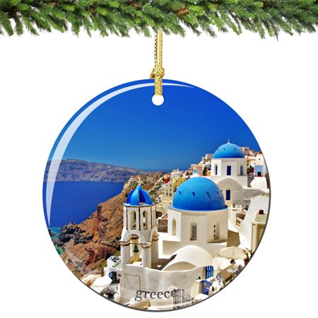 Greece Porcelain Christmas Ornament, Santorini