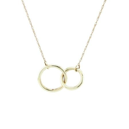 14K Yellow Gold Double Circle Pendant Necklace Hematite Yellow Pendant