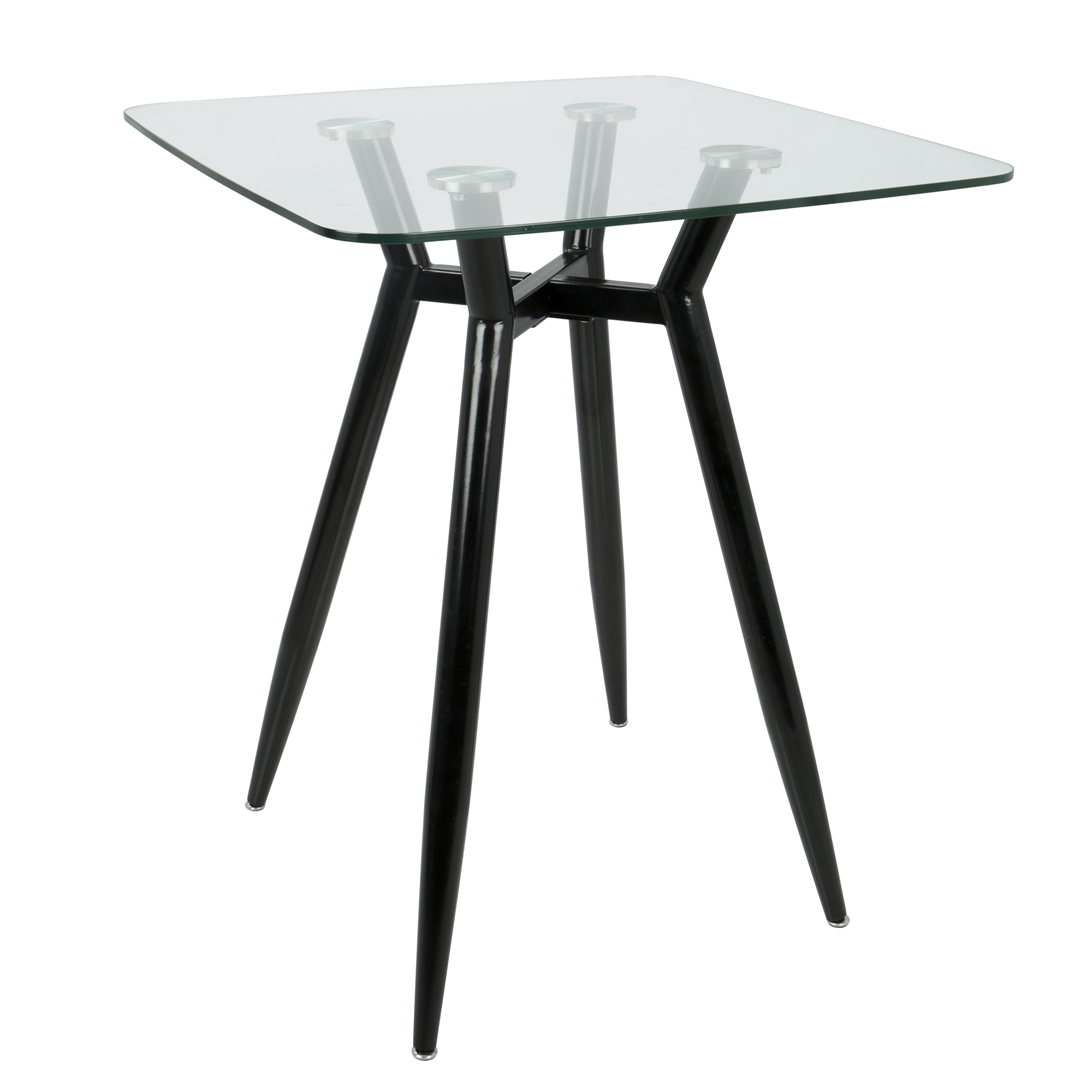 LumiSource Clara Square Glass Topped Counter Height Dining Table