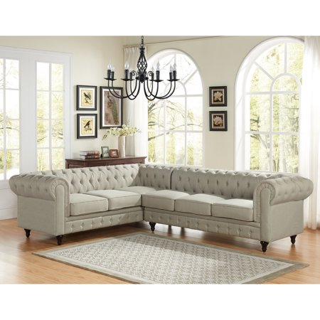 US Pride Furniture Sophia Classic Button Tufted Fabric Upholstered 2-Pc Right Facing Sectional Sofa, Beige, S0100R-2PC ()