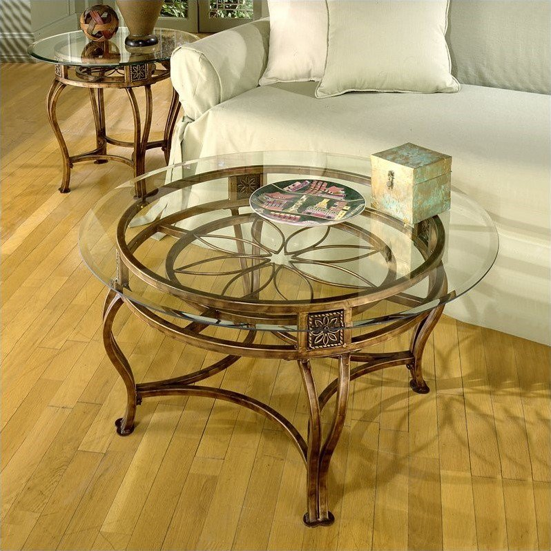 Hillsdale Scottsdale 2 Piece Contemporary Glass Top Table Set In Rustic  Brown