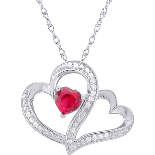 Heart 2 Heart 1/5 Carat T.W. White Diamond and 0.56 Carat T.G.W. Created Ruby Sterling Silver  Pendant, 20""