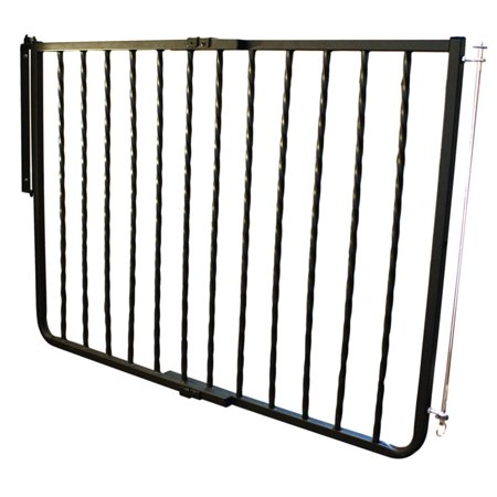 "Cardinal Gates Wrought Iron Decor Hardware Mounted Pet Gate, Black, 27"" - 42.5"" x 29.5"""