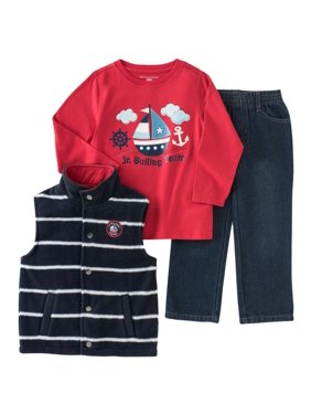 Kids Headquarters Infant Toddler Boy 3-Piece Sailor Outfit Vest Shirt Pants