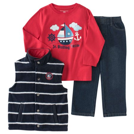 Kids Headquarters Infant Toddler Boy 3-Piece Sailor Outfit Vest Shirt Pants (Jordan Toddler Outfit)