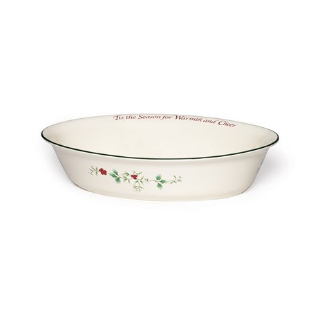 Pfaltzgraff Winterberry Serve Bowl Stoneware Oval with Sentiments, 12.4 by 9