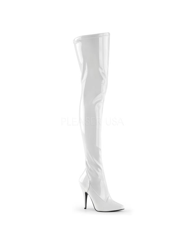 SED3000/W Pleaser Single WHITE Soles Thigh High Boots WHITE Single Size: 11 908643