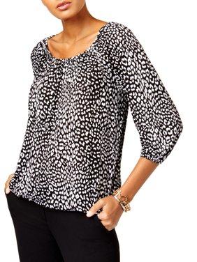 df04e5ed9dcb2 Product Image MICHAEL Michael Kors Womens Petites Cheetah Print Gathered  Peasant Top B W PL